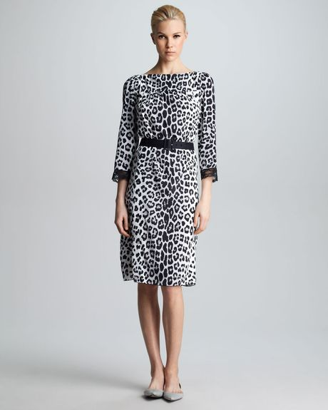 Marc Jacobs Belted Leopardprint Dress in Gray (gray multi)
