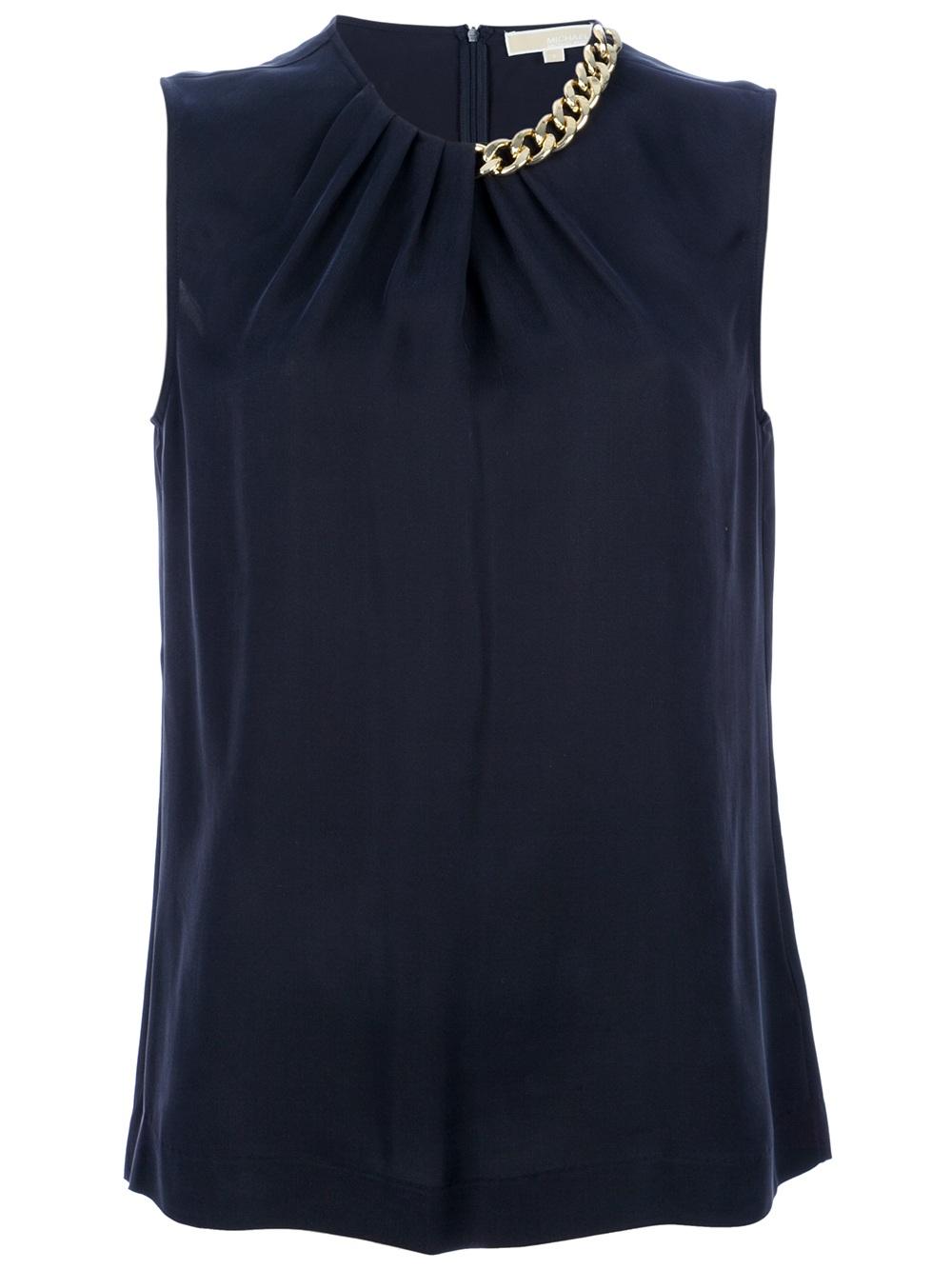 michael kors chain detail silk blouse in blue navy lyst. Black Bedroom Furniture Sets. Home Design Ideas