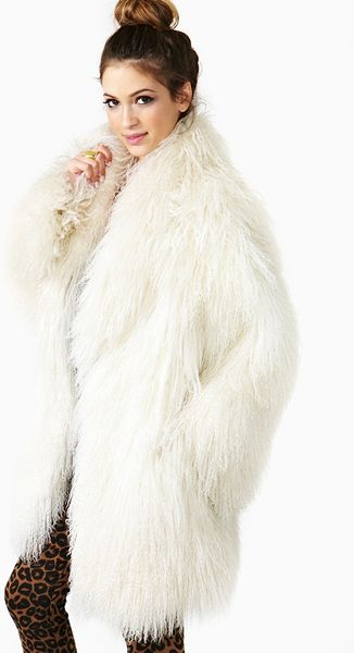 Nasty Gal Iced Mongolian Lamb Fur Coat In White Ice Lyst