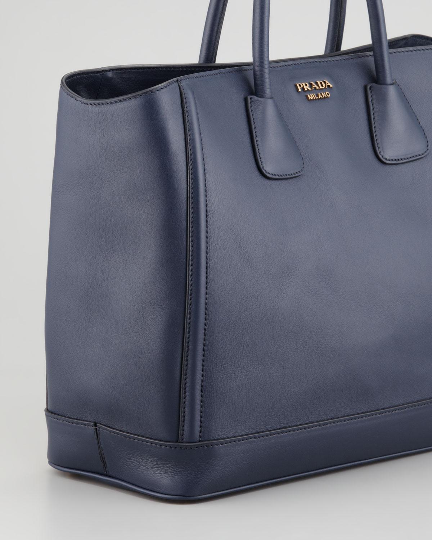 3e83095399 ... discount lyst prada city calf large tote bag in blue 6e9f2 9b0f0