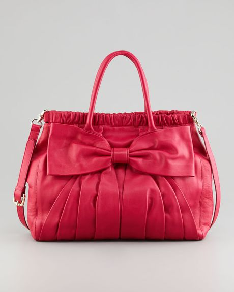 Red Valentino Calfskin Bow Satchel Bag in Red (cherry)