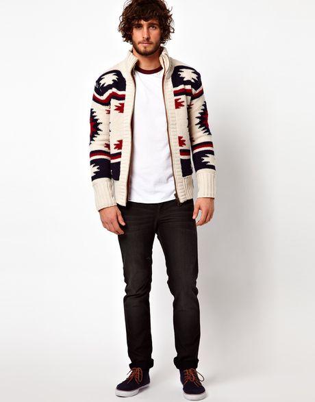 Superdry Navajo Knit Zip Cardigan In White For Men