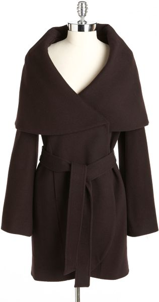 Tahari Marla Wrap Coat In Brown Lyst