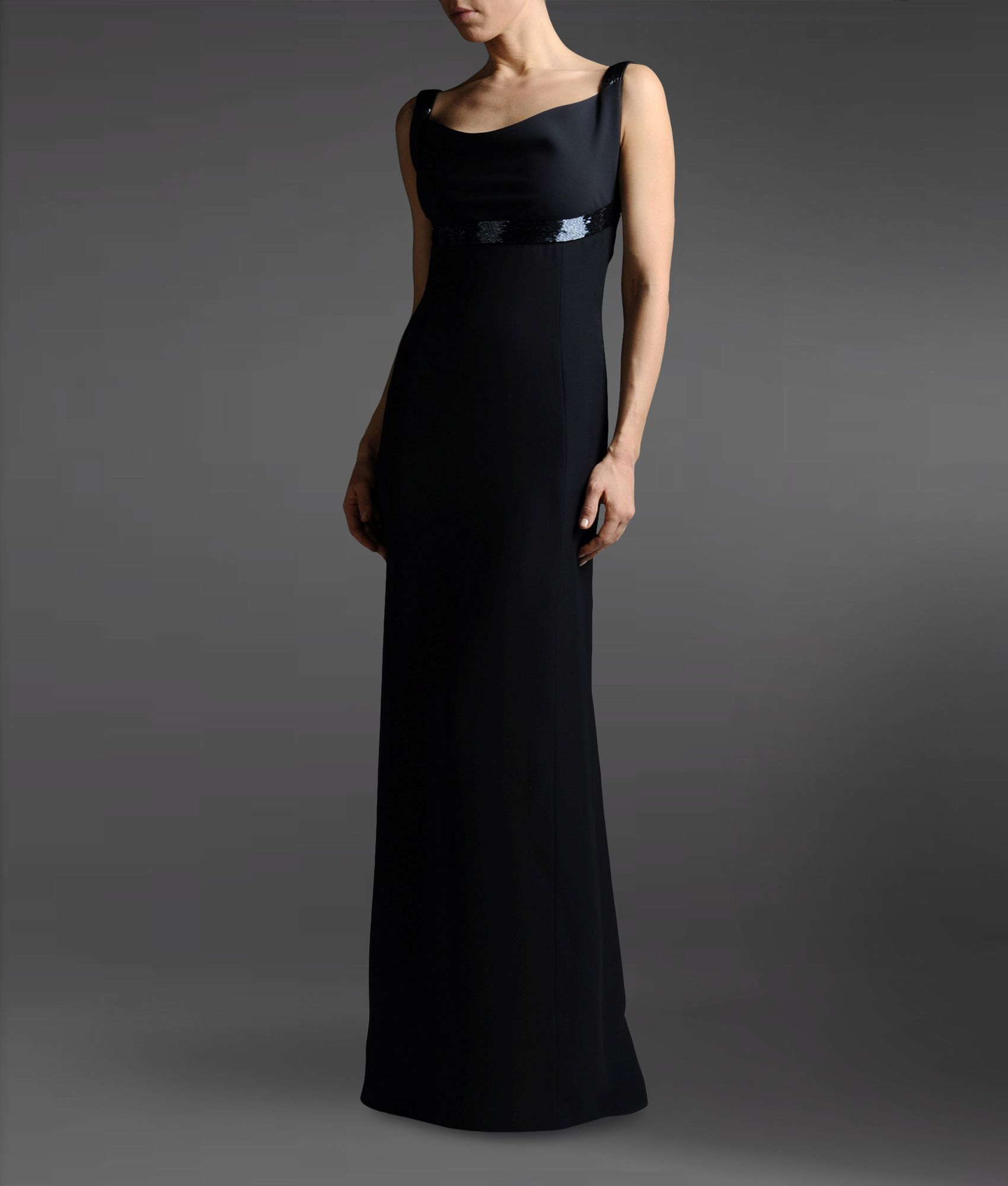 Armani Long Crêpe Dress Embellished with Beads in Black | Lyst