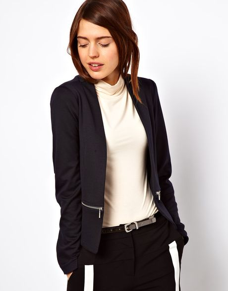 Asos Blazer in Ponte with Zips in Blue (navy)