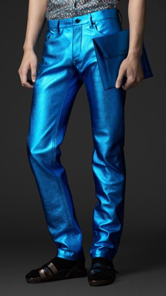 Burberry Prorsum Metallic Leather Jeans in Blue for Men (metallic blue)
