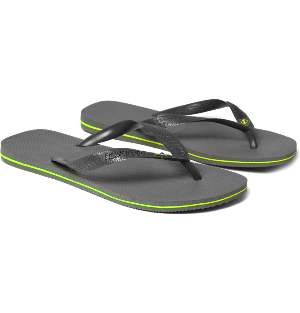 Havaianas Brasil Logo Flip Flops in Gray for Men