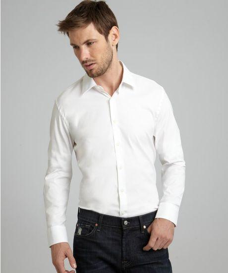 Prada white stretch poplin point collar dress shirt in for How to stretch a dress shirt