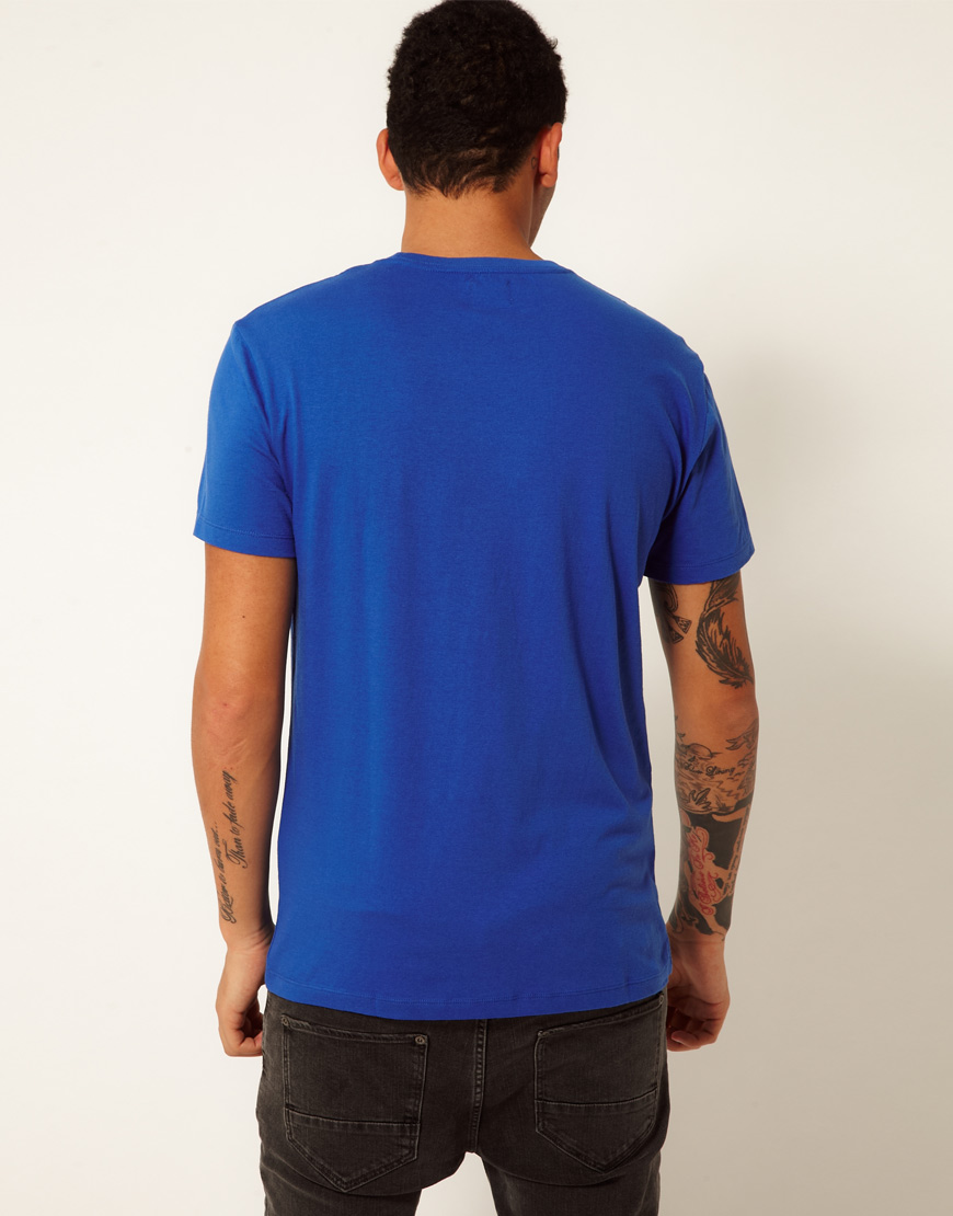 Replay Tshirt Blue Jeans Logo Print In Blue For Men Lyst