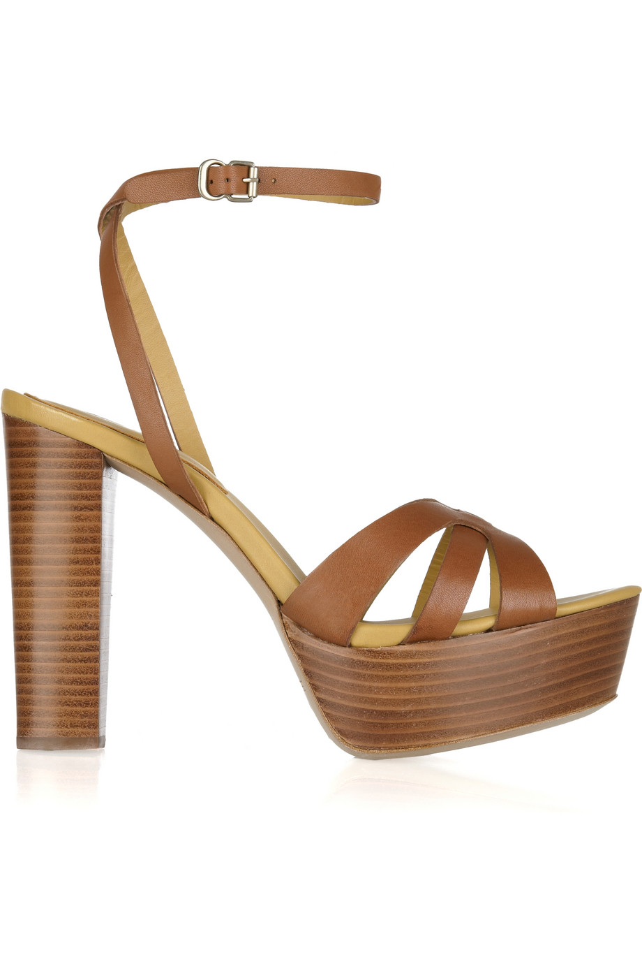 5e454476d94b Lyst - See By Chloé Wooden-heeled Leather Sandals in Brown