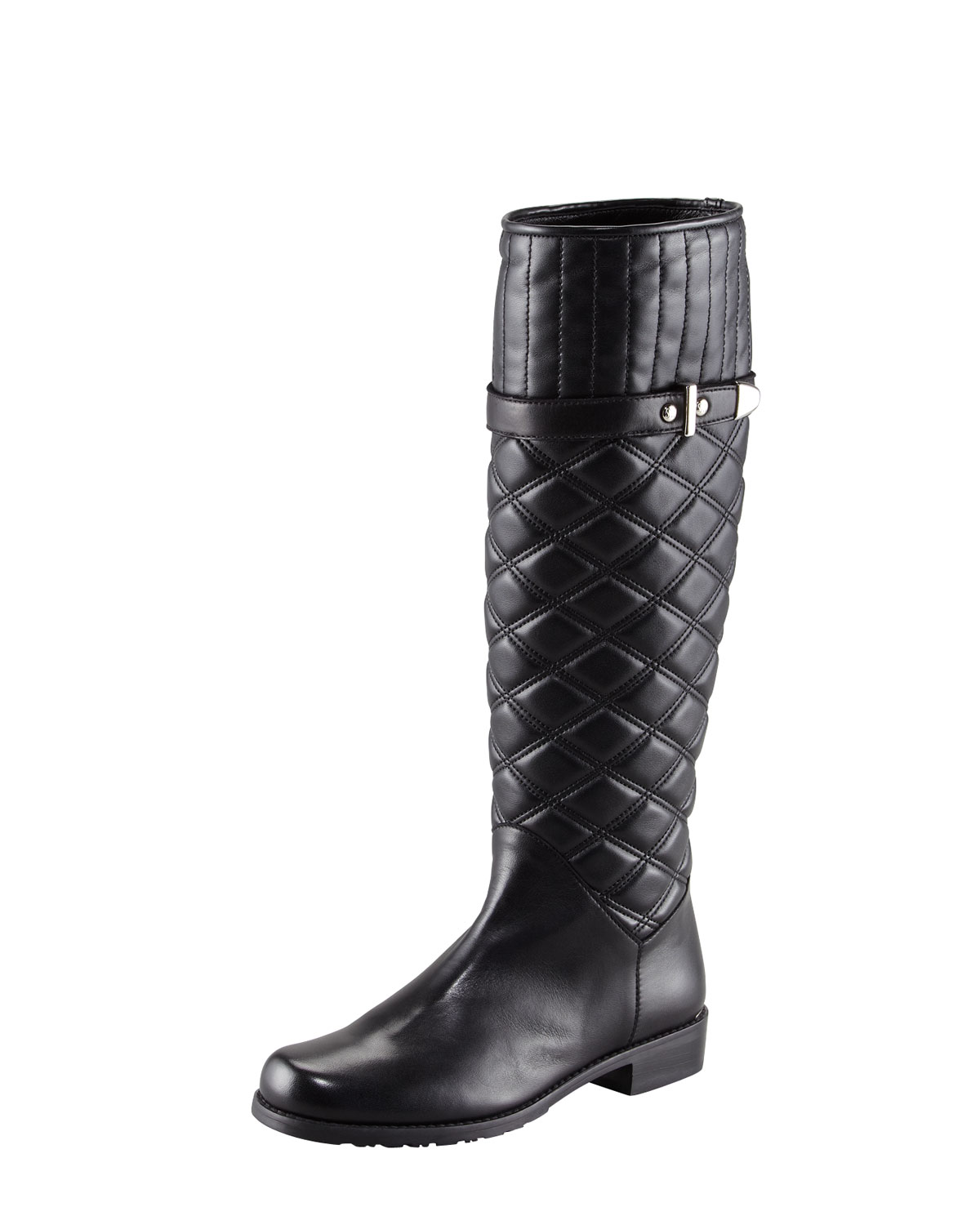 stuart weitzman quilted leather boot in black lyst