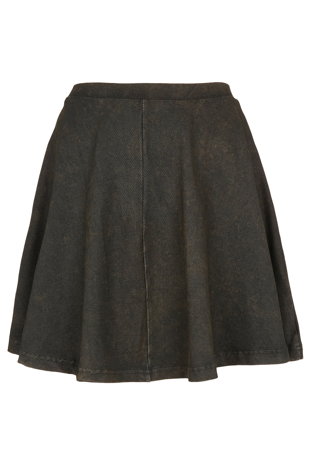 topshop denim look skater skirt in khaki lyst