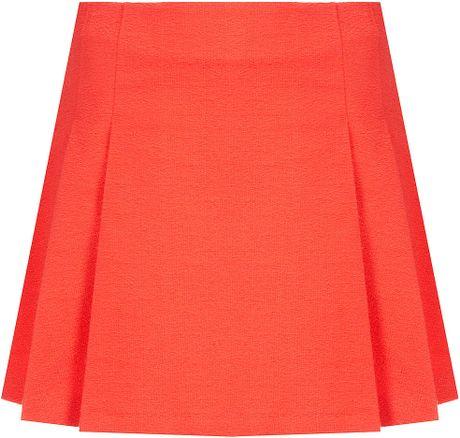 topshop textured pleat skirt in orange lyst