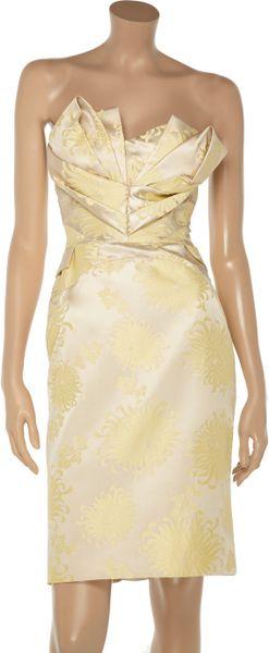 Zac Posen Silk Blend Jacquard Dress In Gold Cream Lyst