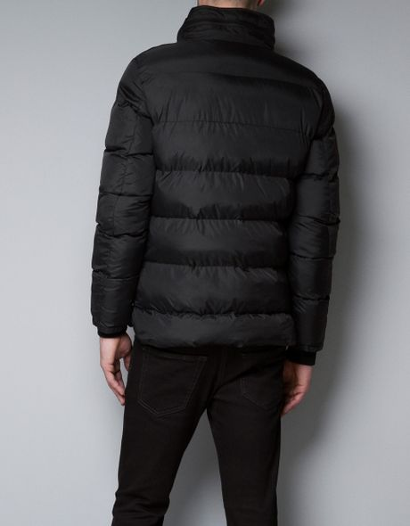 Zara Hooded Puffer Jacket With Contrasting Pockets In