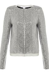 Diane Von Furstenberg Tamali Crystal Sequin Tweed Jacket
