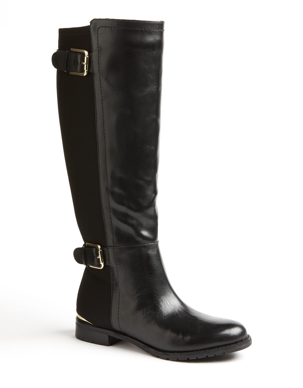 isaac mizrahi amit stretch leather boots in black