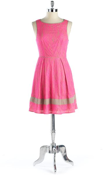 Jessica Simpson Neon Floral Lace Dress In Pink Lyst
