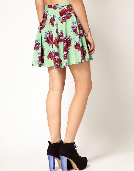 mink pink bad skirt in floral print in multicolor
