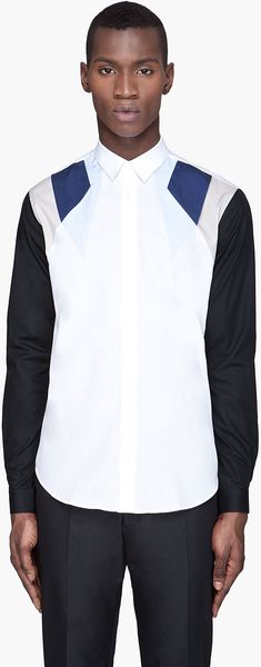 Mugler White and Blue Color blocked Button Up Shirt - Lyst