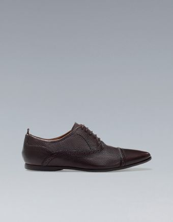 Zara Blucher with Brogueing On The Toe Cap - Lyst