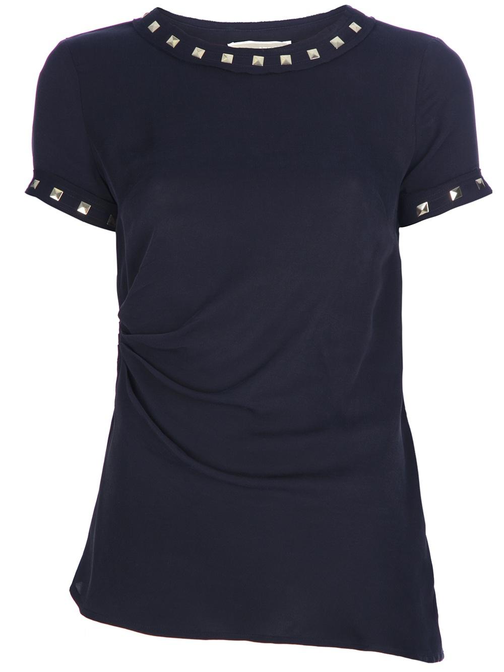 michael kors studded tshirt in blue navy lyst. Black Bedroom Furniture Sets. Home Design Ideas