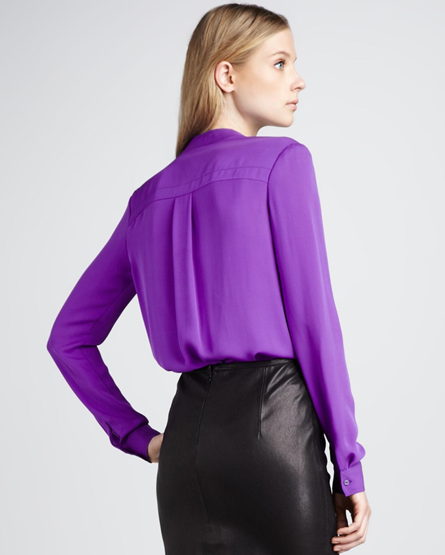 lyst   theory silk blouse in purple