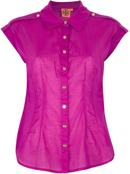 Tory Burch Button Down Shirt in Purple