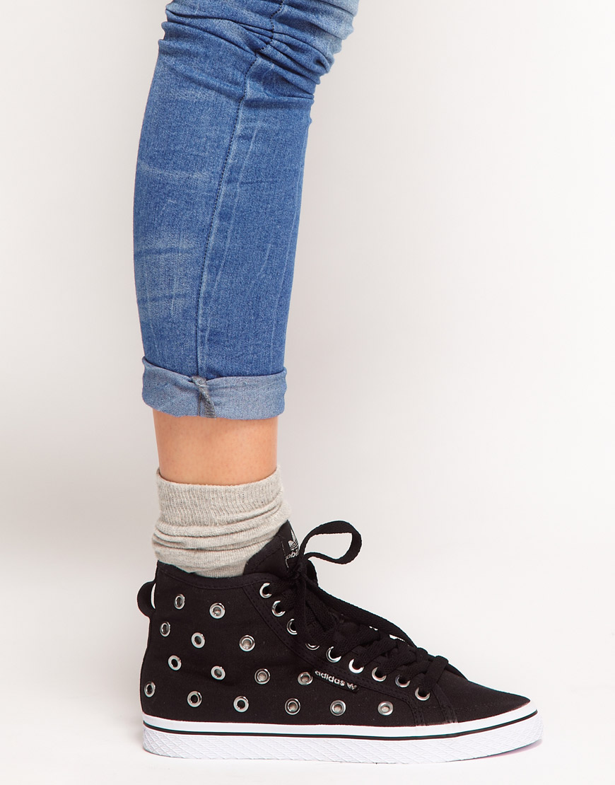 Lyst - adidas Honey Mid Ef Eyelet Trainers in Black 7210a6a43