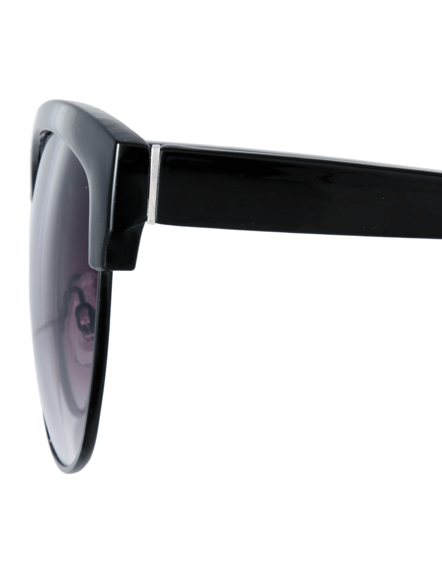 90d025672fc Lyst - ASOS Half Frame Angular Cat Eye Sunglasses in Black