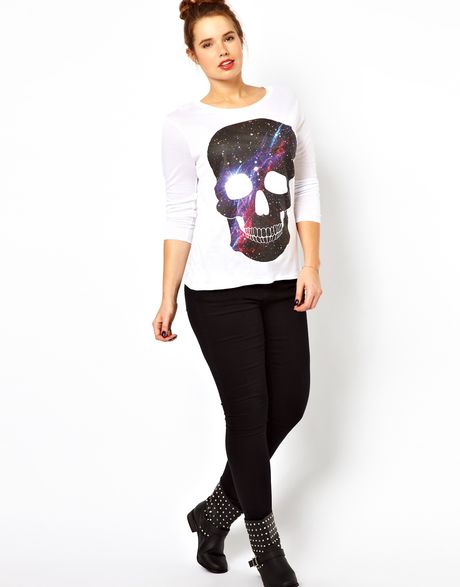 Galaxy White t Shirt T-shirt With Galaxy Skull