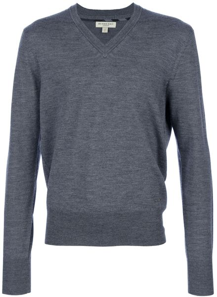 Burberry Fitted Vneck Sweater in Gray for Men (grey)