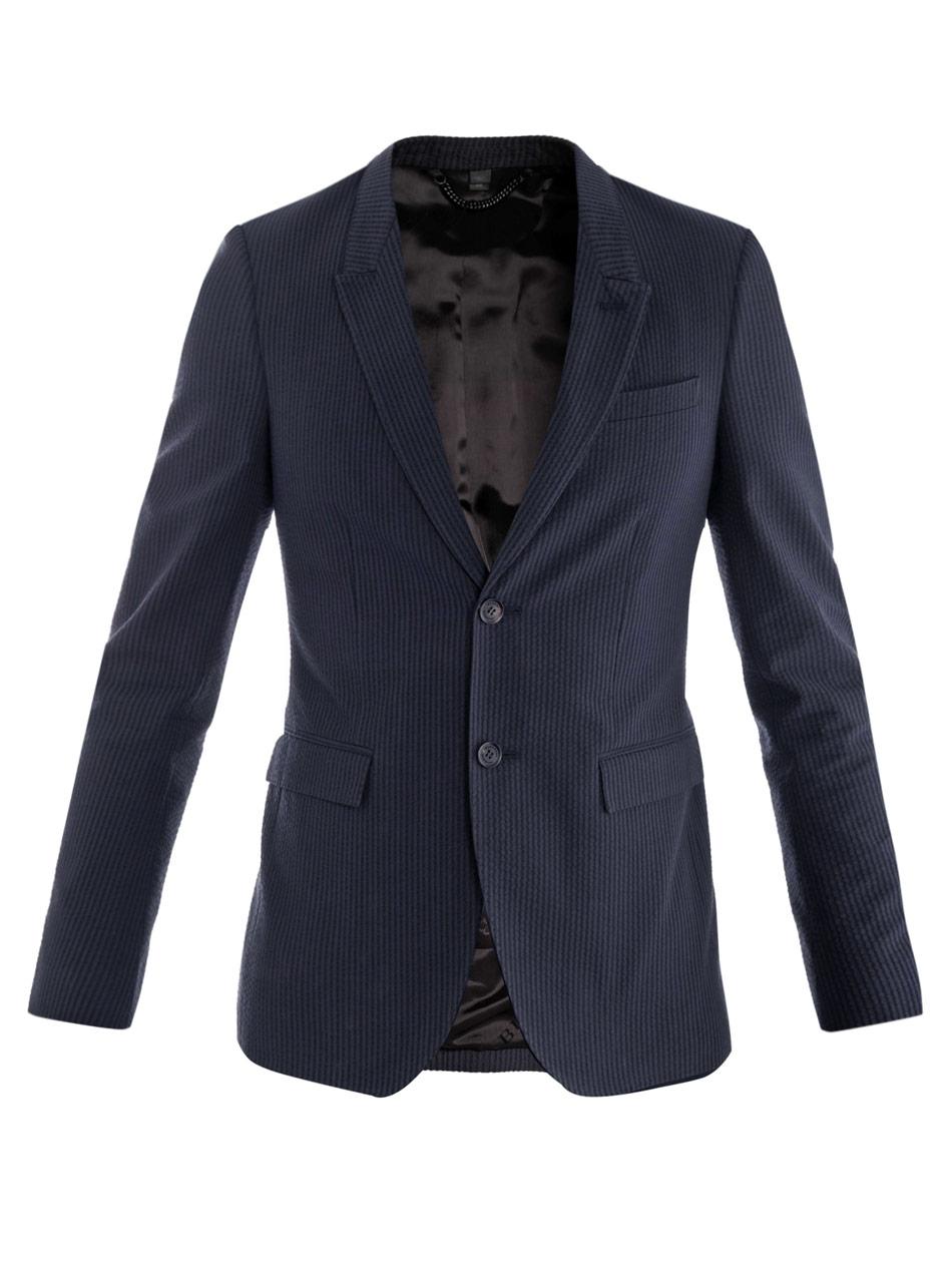 Lyst Burberry Prorsum Seersucker Stripe Jacket In Blue