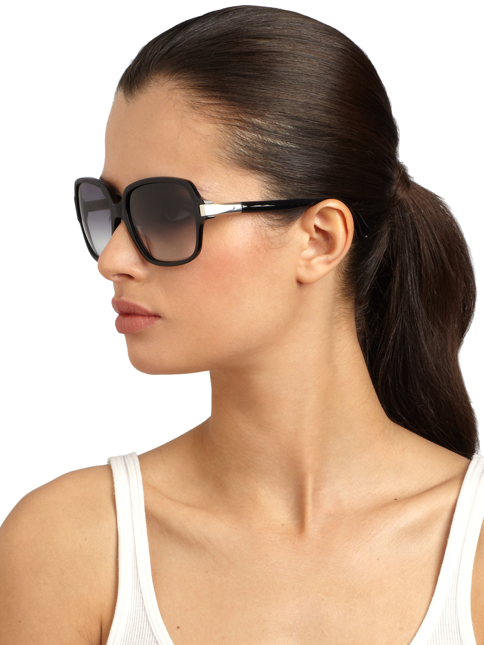 Rounded Square Sunglasses  chloé rounded square acetate tubular sunglasses in black lyst