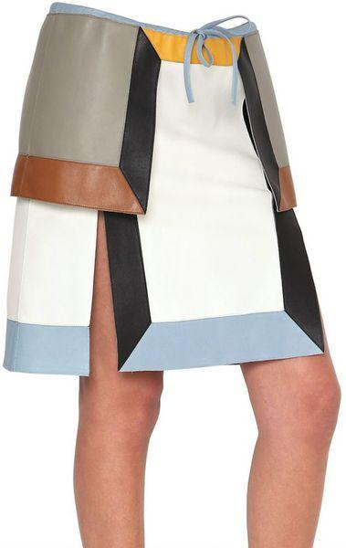 fendi multi tone nappa leather skirt in multicolor multi