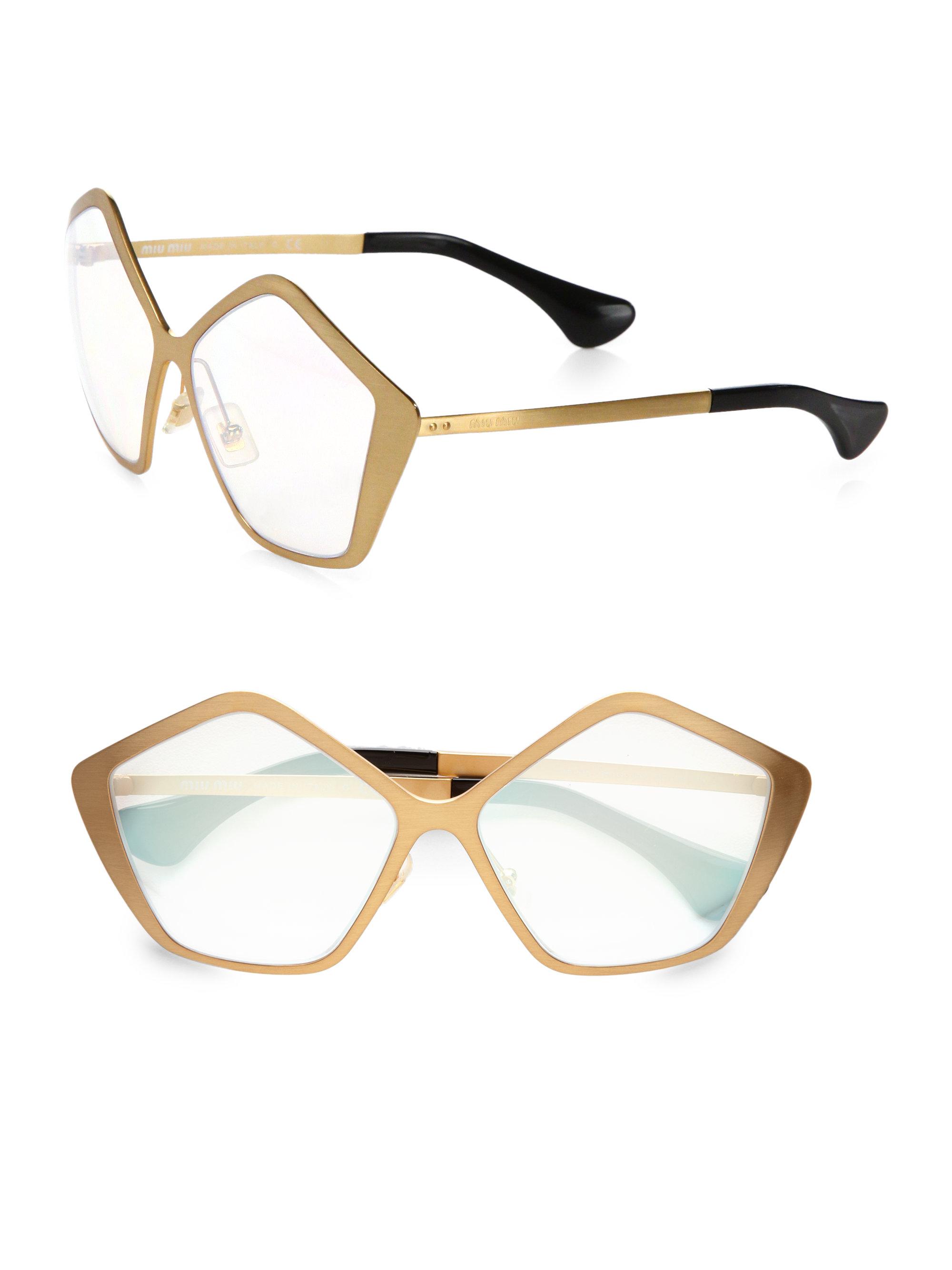 84b82d7337b Lyst - Miu Miu Brushed Gold Metal Culte Star Sunglasses in Metallic