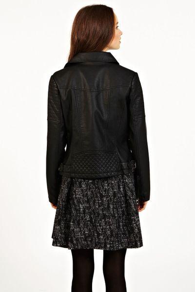 Oasis Becky Buckle Faux Leather Biker Jacket In Black Lyst
