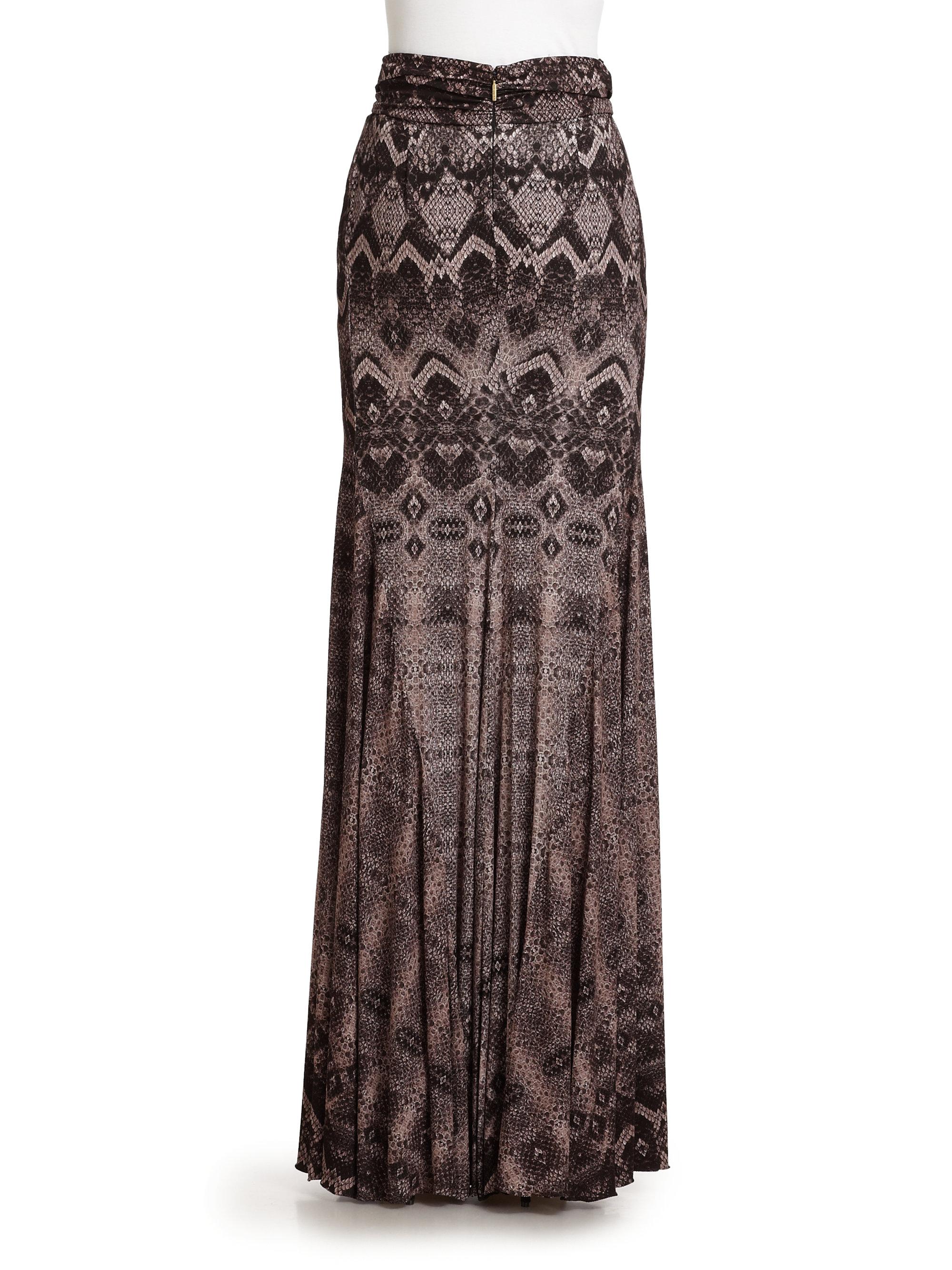 0a7ad5b721585 Roberto Cavalli Snake Print Maxi Skirt in Brown - Lyst