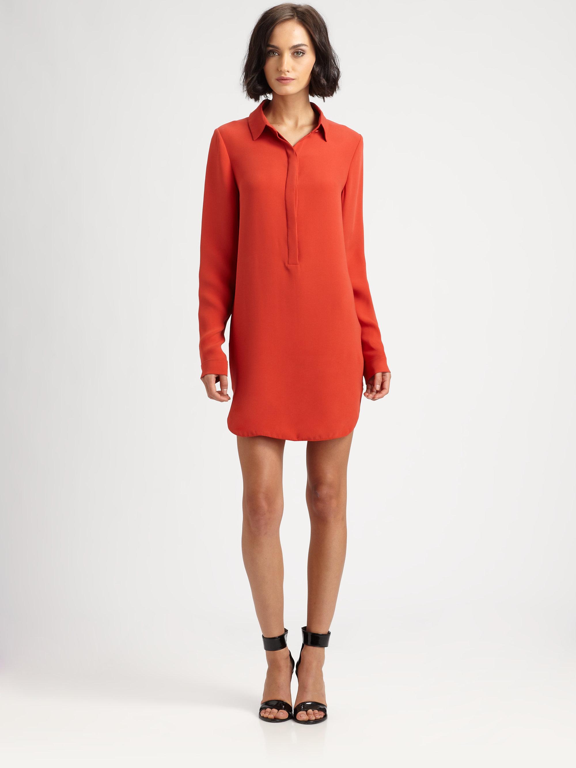 Lyst Vince Silk Shirt Dress In Orange