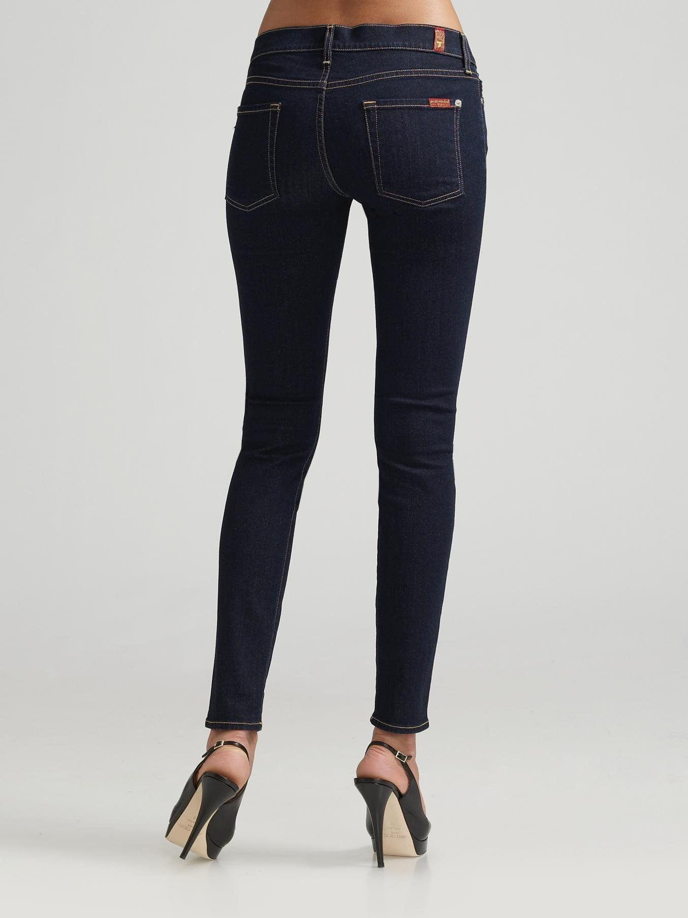 7 for all mankind the skinny jeans in blue indigo lyst
