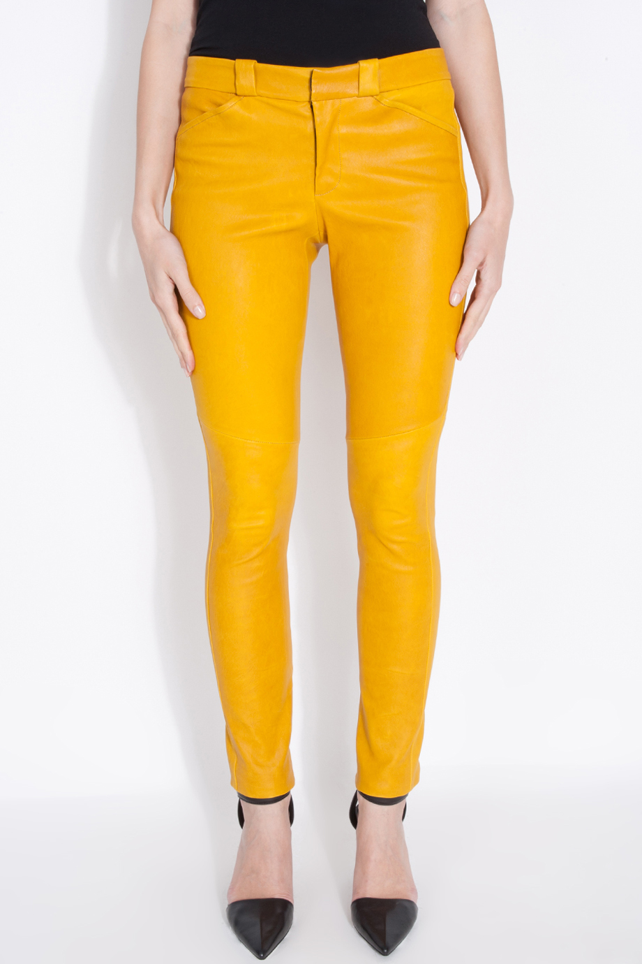 Lyst A L C Stretch Leather Pants In Yellow