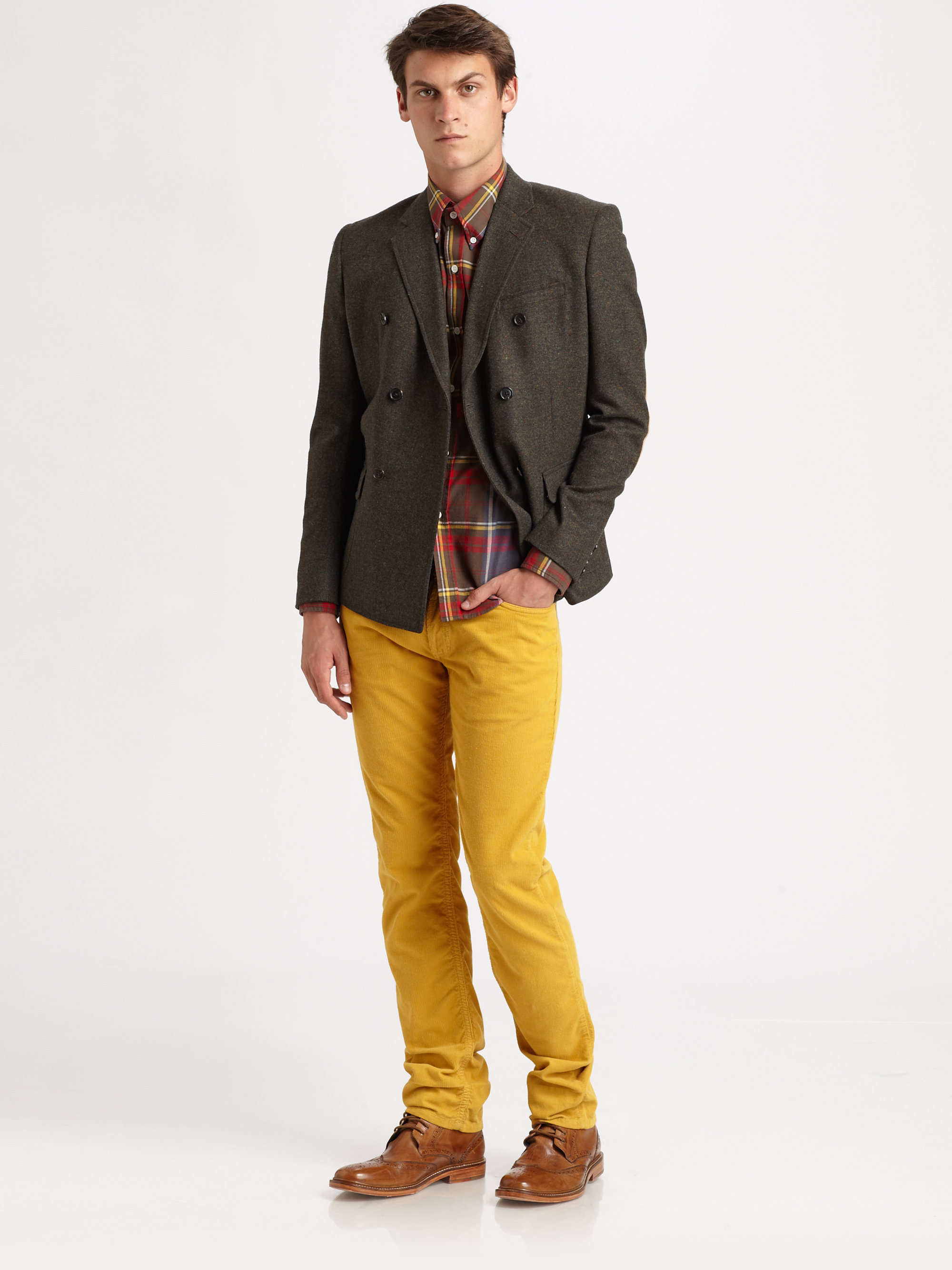 Band of outsiders Corduroy Pants in Yellow for Men | Lyst