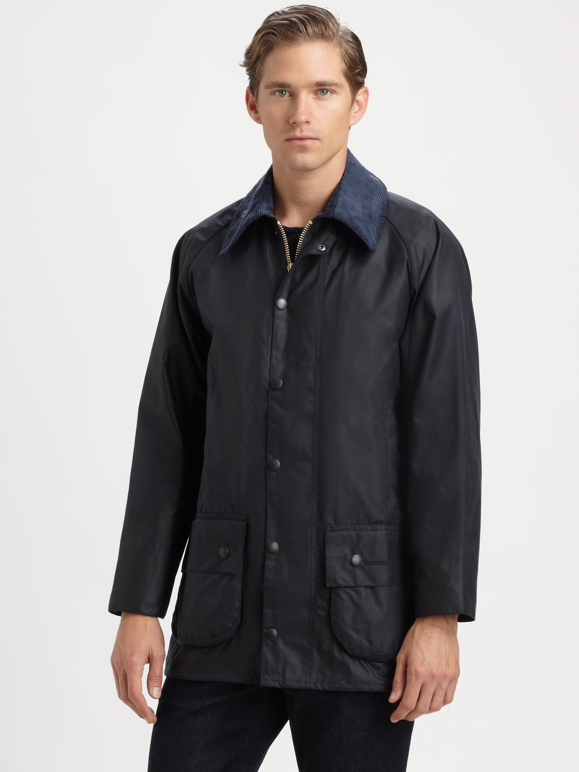 Barbour Beaufort Waxed Cotton Jacket In Blue For Men