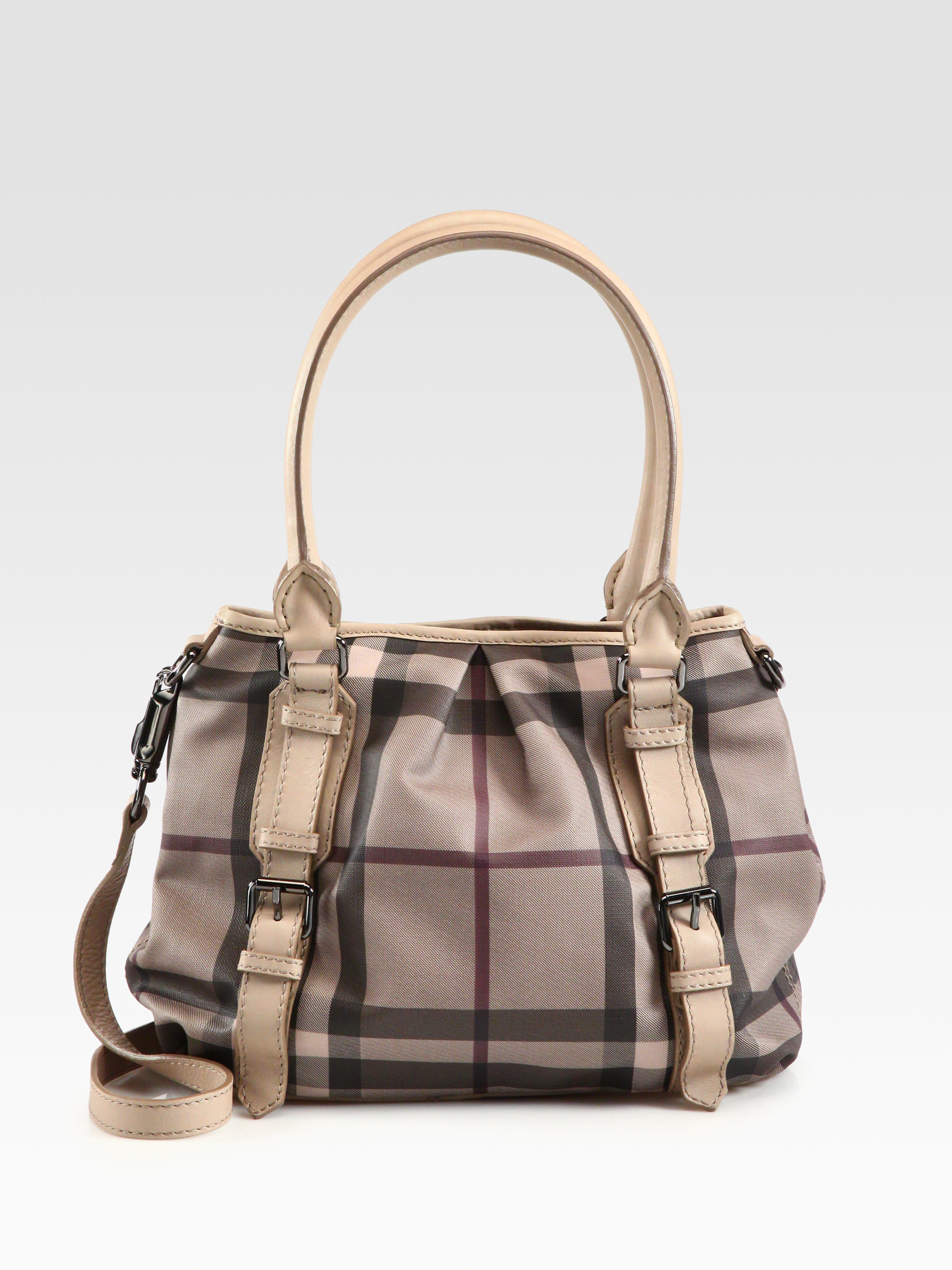 Lyst Burberry Smoke Check Leather Northfield Bag In Natural