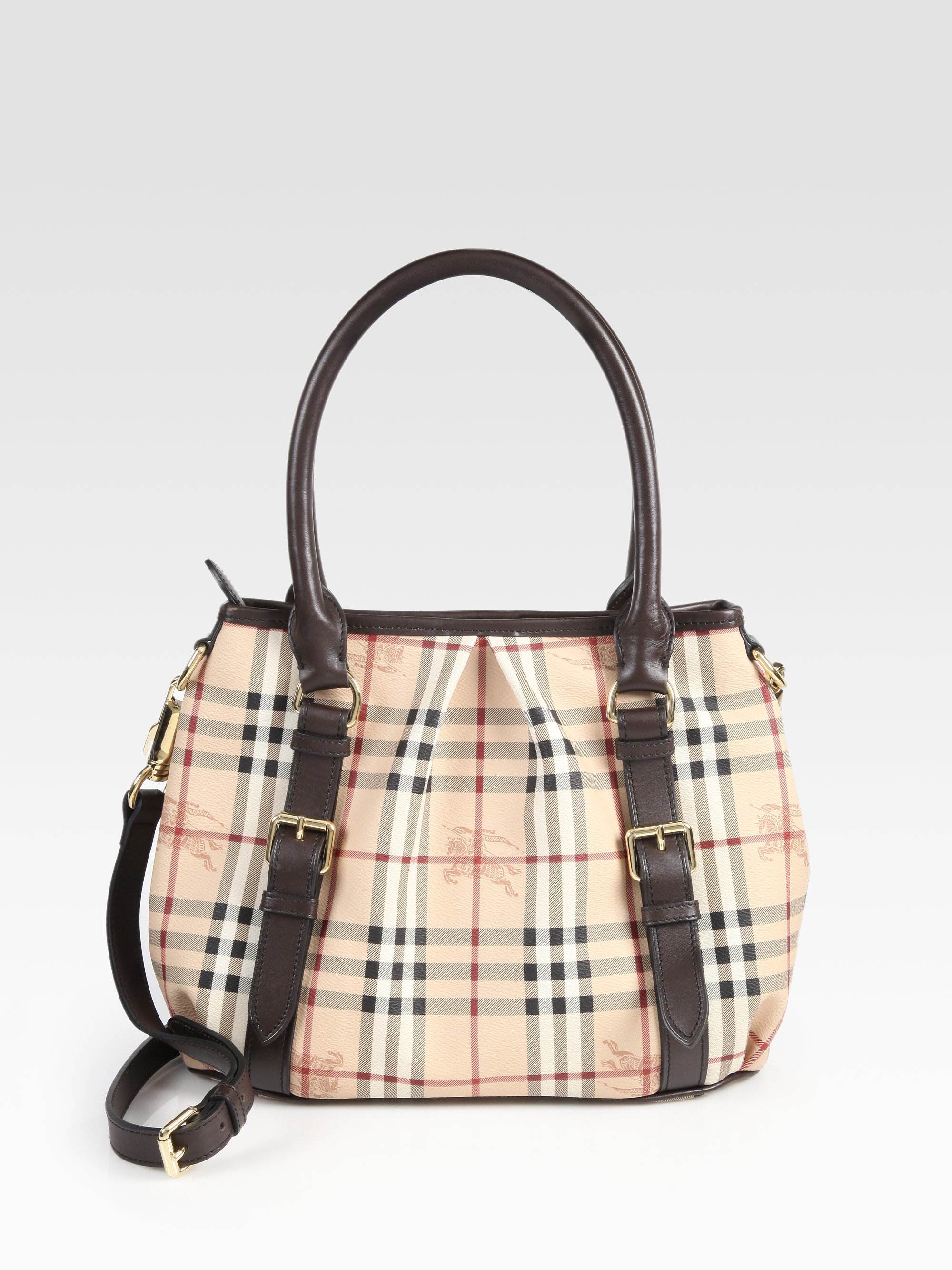 Lyst - Burberry Small Canvas Leather Check Bag in Brown 61cbe99331b4