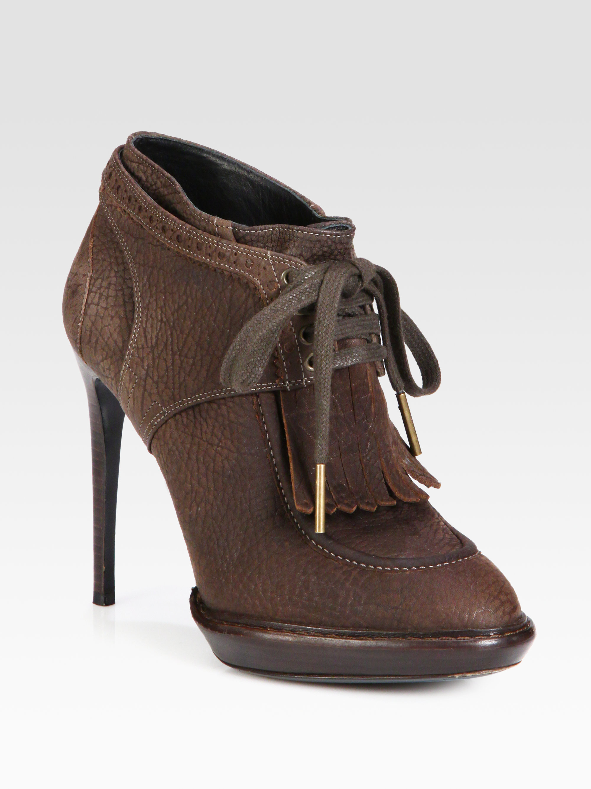 burberry prorsum leather lace up platform ankle boots in
