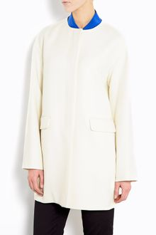 DKNY Wool Blend Collarless Coat - Lyst