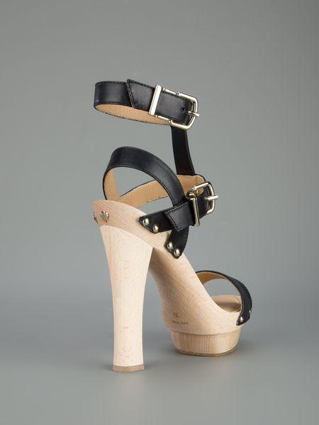 Dsquared2 Wood Platform Heeled Sandal In Black Lyst