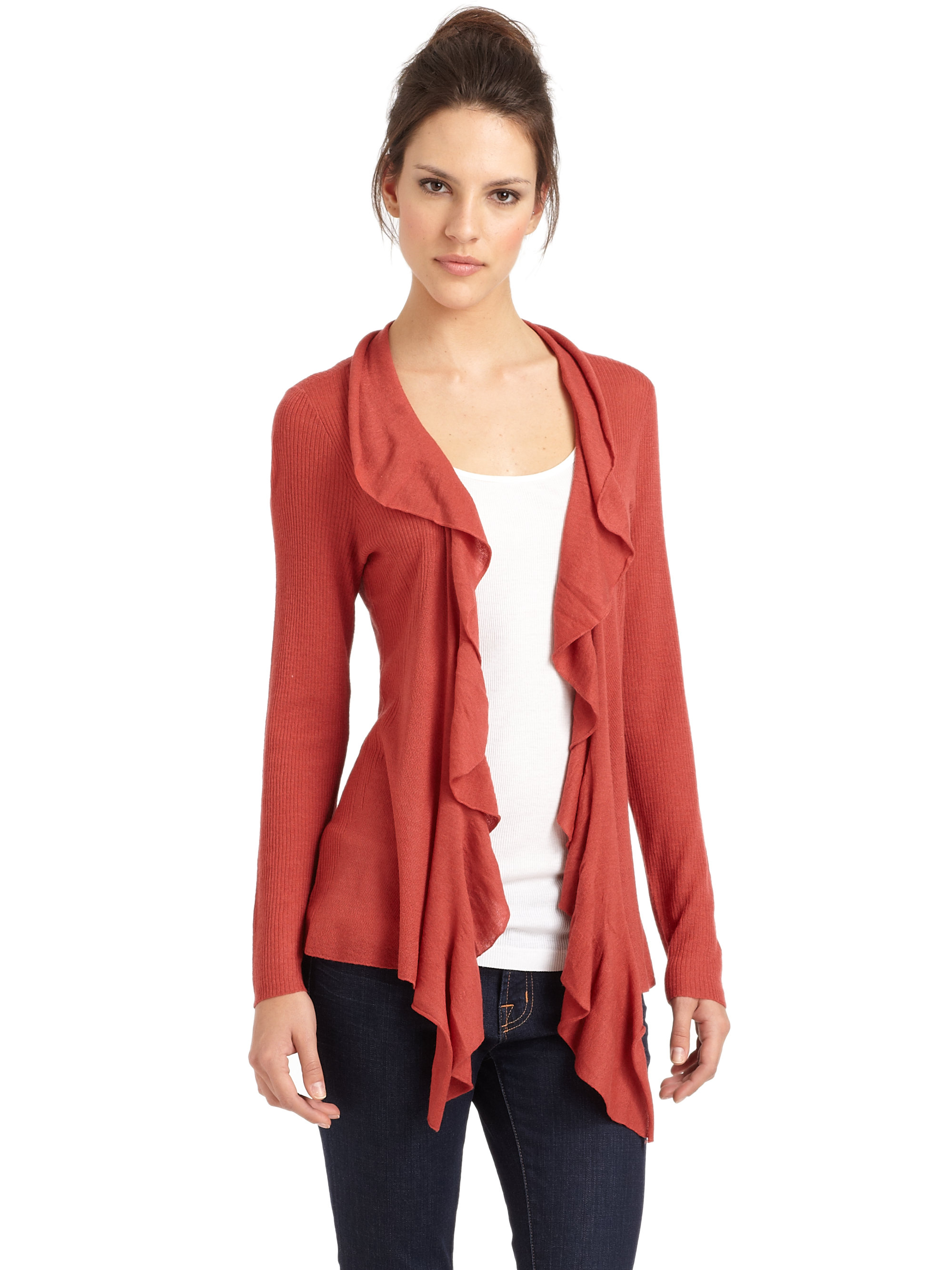 Eileen fisher Ruffle Cardigan in Red | Lyst