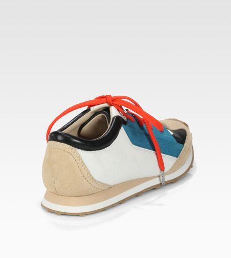 Elizabeth And James Evva Leather Suede Laceup Sneakers in Multicolor (turquoise)